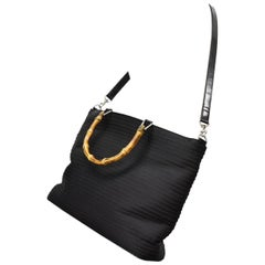 Gucci Quilted Bamboo 2way 220456 Black Nylon X Patent Leather Shoulder Bag