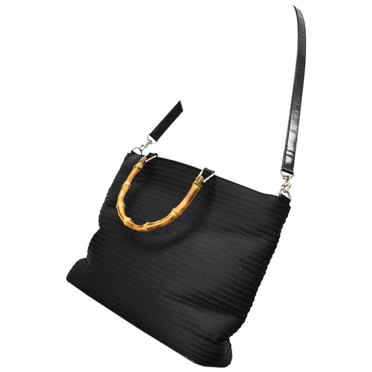 2024513921ba4b Gucci Quilted Bamboo 2way 220456 Black Nylon X Patent Leather Shoulder Bag  For Sale