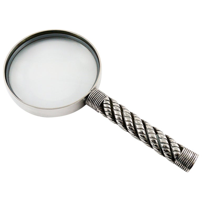 Hermes Vintage Silve Plate Twisted and Braided Rope Desk Magnifier For Sale