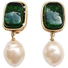 Chanel Gripoix Drop Pearl Earrings 1993