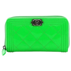 Chanel Boy Zip Around Wallet Quilted Patent Small