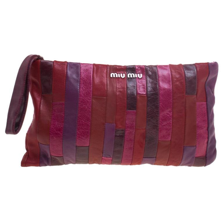 d097b4a5fe6a Miu Miu Multicolor Patchwork Nappa Leather Wrislet Clutch For Sale ...