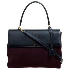 Saint Laurent Paris Burgundy/Black Suede and Leather Medium Moujik Tote