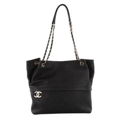 Chanel Zip and Carry Shopping Tote Quilted Caviar Large