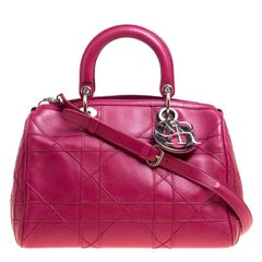 Dior Pink Cannage Quilted Leather Granville Polochon Satchel