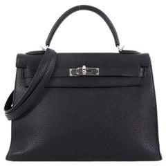 Hermes Kelly Handbag Black Togo with Palladium Hardware 32