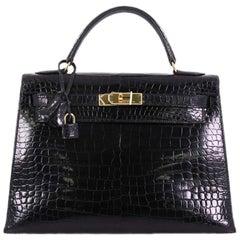 Hermes Kelly Handbag Black Shiny Porosus Crocodile with Gold Hardware 32