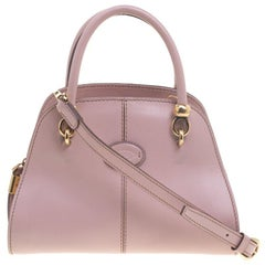 Tod's Pink Leather Small Sella Bowling Bag