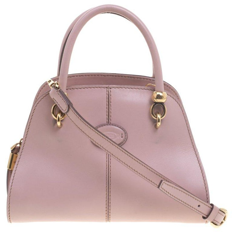 9df90e64e0 Tod's Pink Leather Small Sella Bowling Bag For Sale at 1stdibs