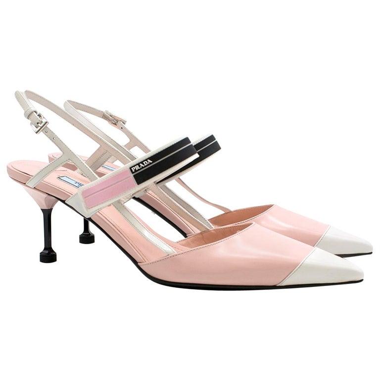 a9ef6a9e075 Prada blossom pink pointed-toe leather pumps US 10