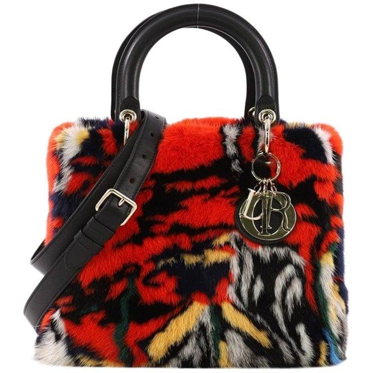 5fdb13fa89f8 Christian Dior Lady Dior Handbag Limited Edition Printed Mink Medium For  Sale
