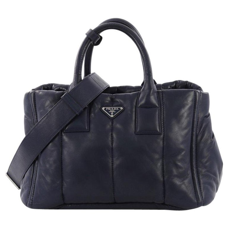 5e27621d1acd49 Prada Bomber Convertible Tote Nappa Leather Medium For Sale at 1stdibs