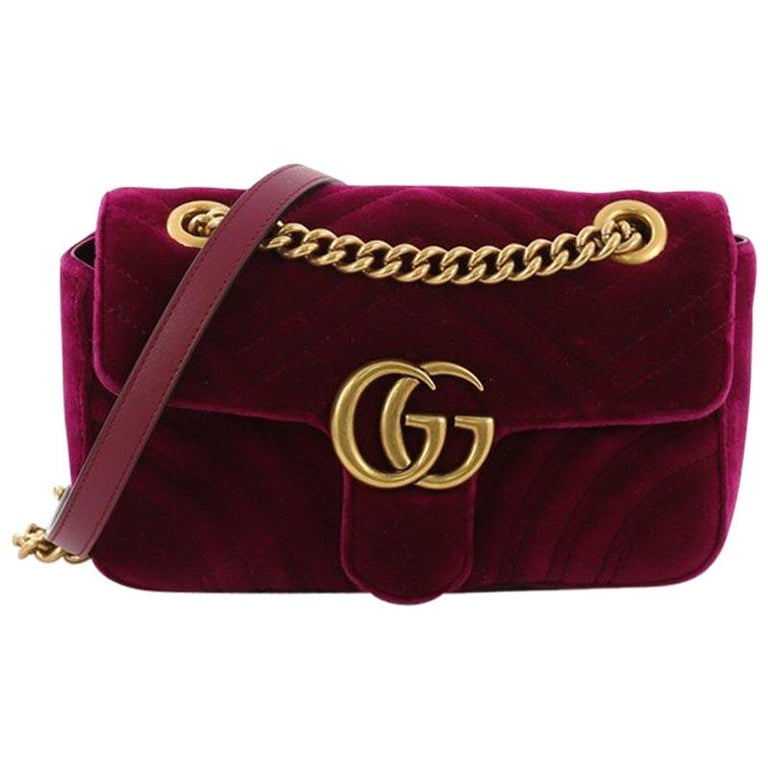 2ca33b82f9c Gucci GG Marmont Flap Bag Matelasse Velvet Mini For Sale at 1stdibs
