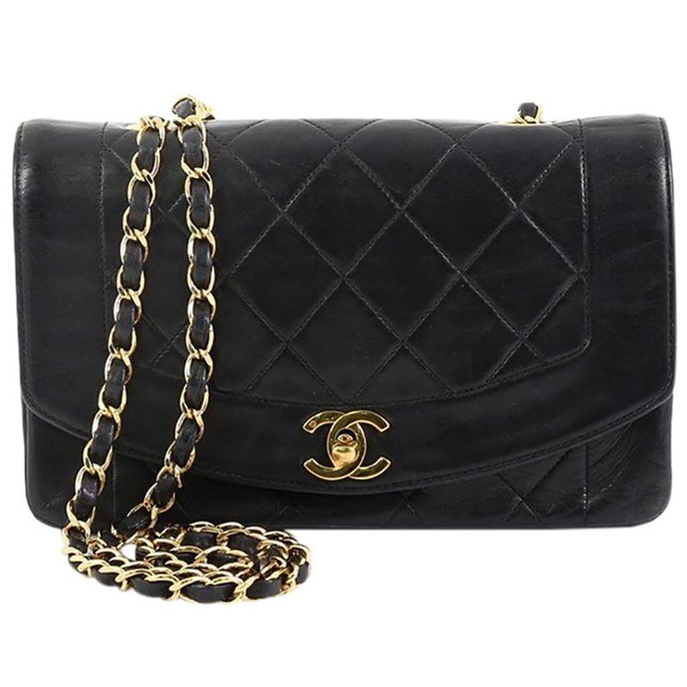 f6a25535f027 Chanel Vintage Diana Flap Bag Quilted Lambskin Small For Sale at 1stdibs