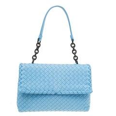 Bottega Veneta Baby Blue Intrecciato Leather Small Olimpia Top Handle Bag