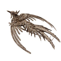 Antique Marcasite Sterling Silver Pheonix Brooch