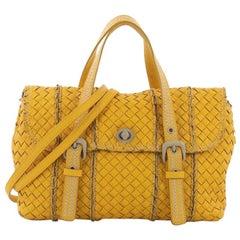 Bottega Veneta Convertible Turnlock Flap Satchel Intrecciato Leather Medium