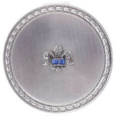 Sterling Silver Powder Compact with Blue Rhinestones and Fleur-de-lis, 1950s