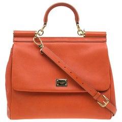 Dolce and Gabbana Orange Leather Medium Miss Sicily Tote