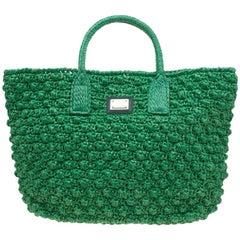 Dolce und Gabbana Green Raffia Miss Alma Shopping Handtasche mit Pouch