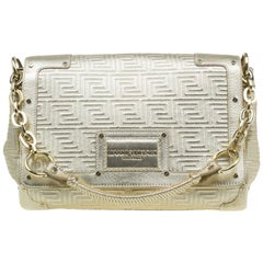 Versace Gold Embossed Leather Flap Shoulder Bag