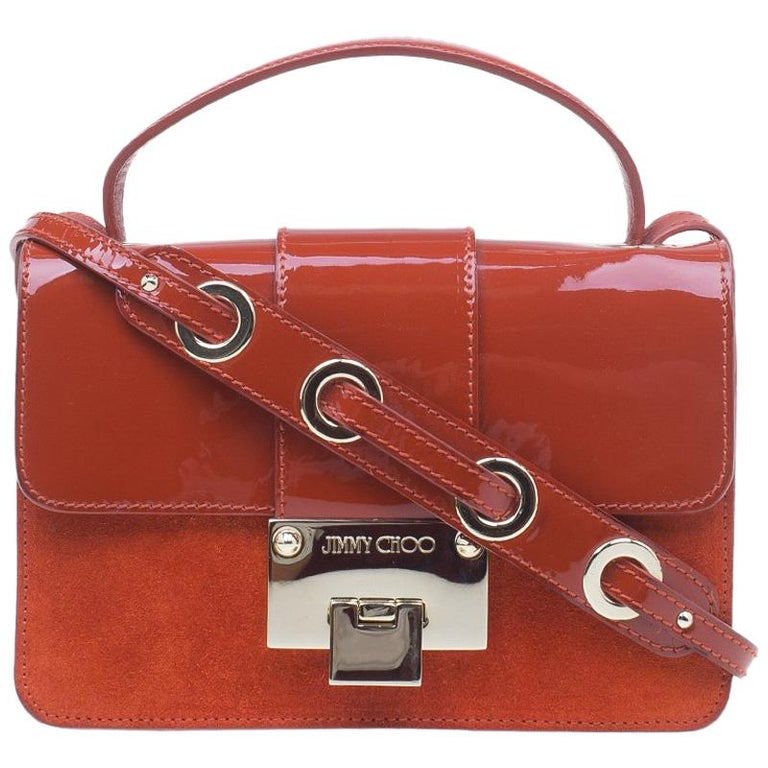 Jimmy Choo Red Patent Leather and Suede Rebel Crossbody Bag For Sale