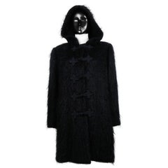 Yves Saint Laurent YSL Vintage Black Hooded Mohair Coat