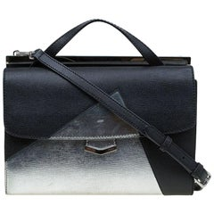 Fendi Black/Silver Textured Leather Small Color Block Demi Jour Shoulder Bag