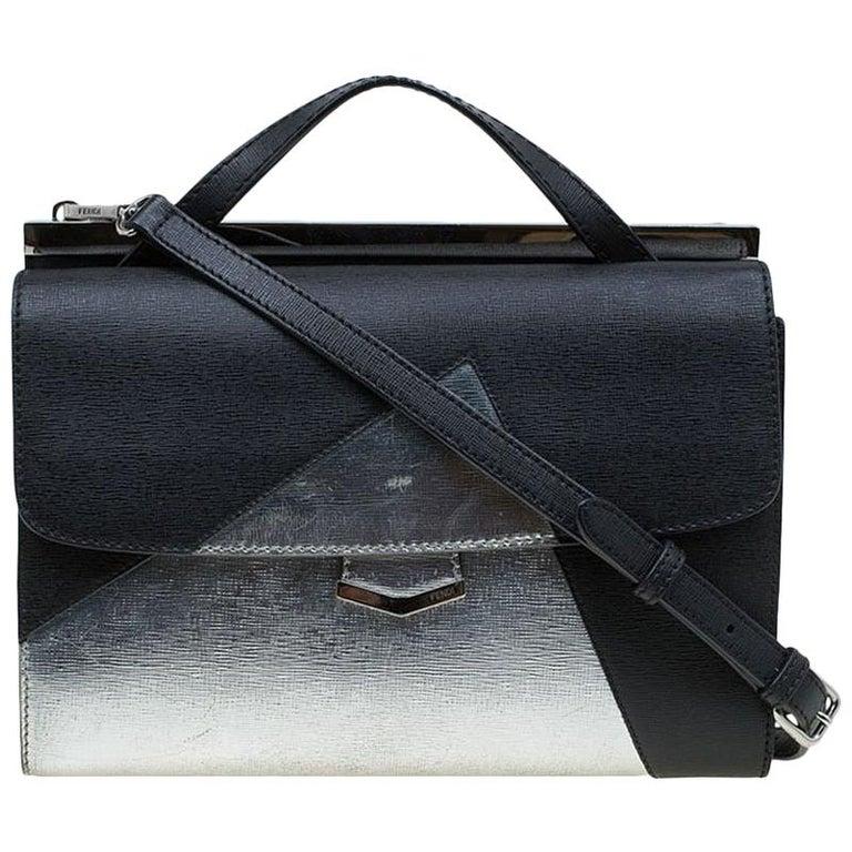 65f7d1b7407b15 Fendi Black/Silver Textured Leather Small Color Block Demi Jour Shoulder Bag  For Sale