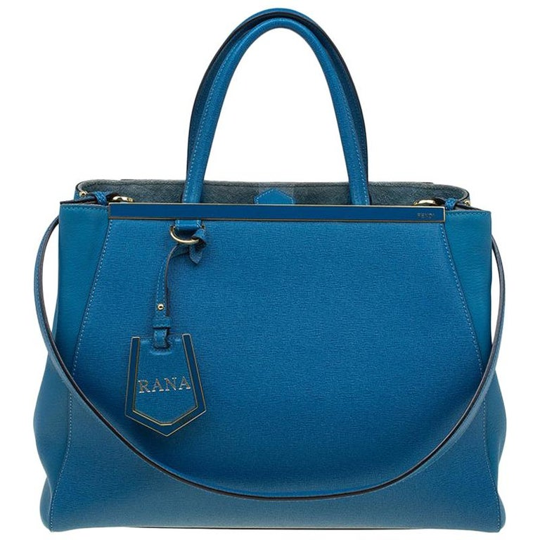 5a899a8a74 Fendi Blue Saffiano Leather 2Jours Tote For Sale at 1stdibs