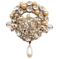 Parisian Costume Brooch with Large Rhinestones and Nacre Pearls.