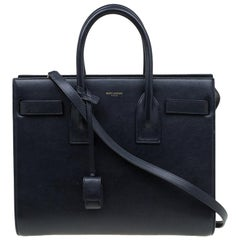 Saint Laurent Paris Black Leather Small Classic Sac De Jour Tote