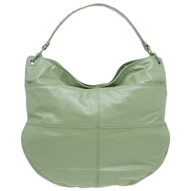 f1856625fc2d Bottega Veneta Mela Green Leather Woven Handle Hobo Bag For Sale at ...