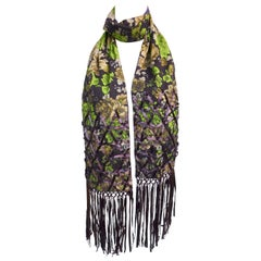 "Purple & Green ""Essentiel Antwerp"" Scarf Embellished with Ribbons and Beads"