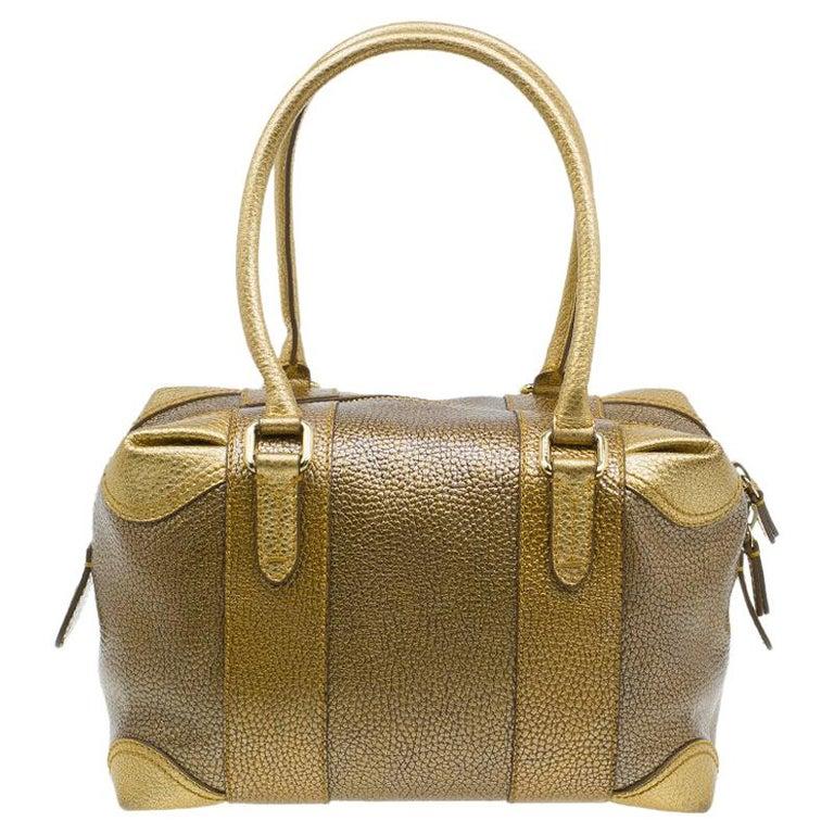 60488c68ca6 Fendi Gold Pebbled Leather Media Boston Bag For Sale at 1stdibs