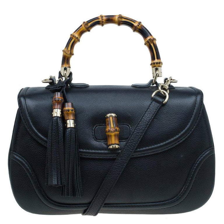 245a2e938d25 Gucci Black Leather Large New Bamboo Tassel Top Handle bag For Sale ...