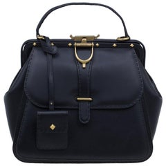 Gucci Black Leather Large Limited Edition Lady Stirrup Top Handle Tote Bag