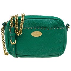 Fendi Green Leather Selleria Leather Small Crossbody Bag