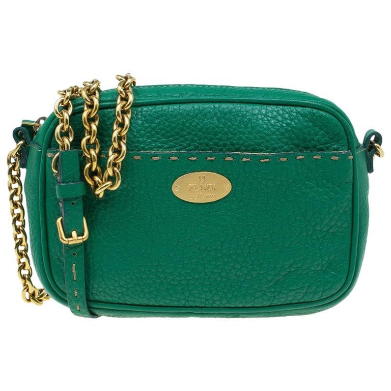 164a7f5a9a Fendi Green Leather Selleria Leather Small Crossbody Bag For Sale at 1stdibs