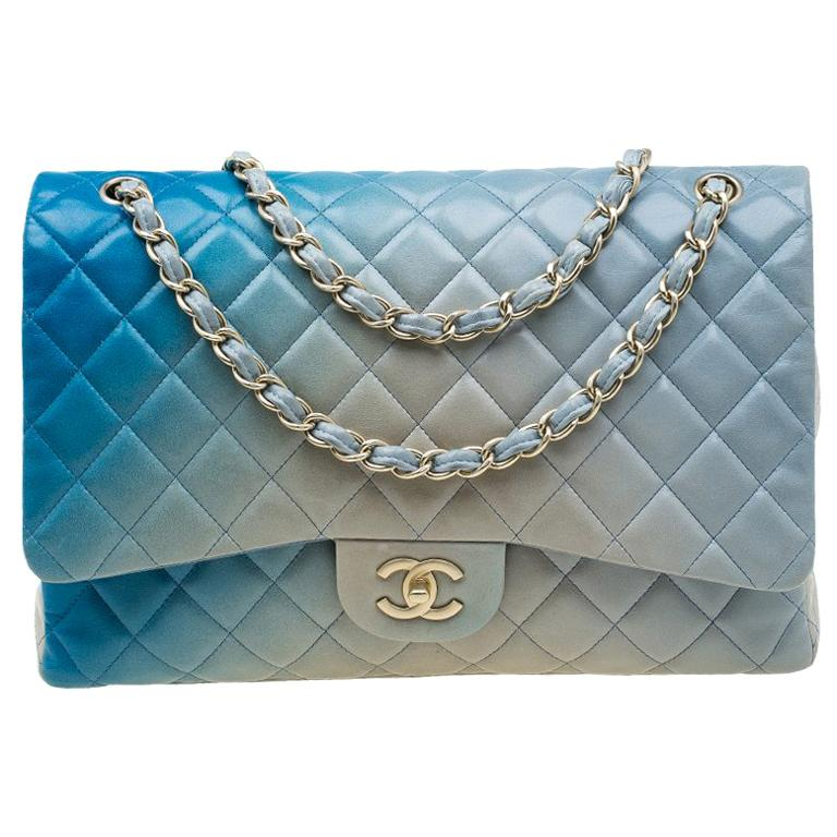 5394b58427c8b9 Chanel Blue Ombre Quilted Leather Maxi Classic Single Flap Bag For Sale