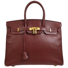 Hermes Birkin 35 Wine Leather Gold Top Handle Satchel Travel Bag