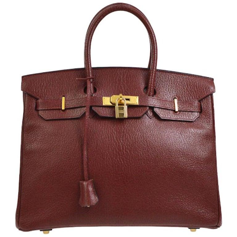 9116442013fb Hermes Birkin 35 Wine Leather Gold Top Handle Satchel Travel Bag For Sale  at 1stdibs