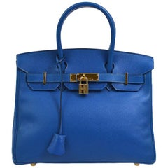 Hermes Birkin 30 Aqua Blue Leather Gold Top Handle Satchel Tote Bag