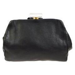 Chanel Black Leather Gold Acrylic Top Handle Satchel Wristlet Evening Clutch Bag