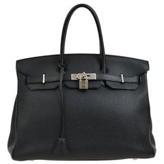 Hermes Birkin 35 Black Leather Palladium Top Handle Satchel Travel Bag in Box