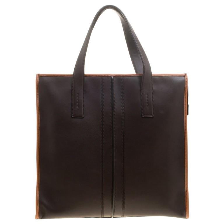 57e37cf9fb Tod's Dark Brown Leather Slim Script Tote For Sale at 1stdibs