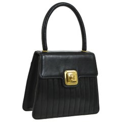 Chanel Black Leather Gold Small Mini Top Handle Satchel Kelly Style Evening Bag