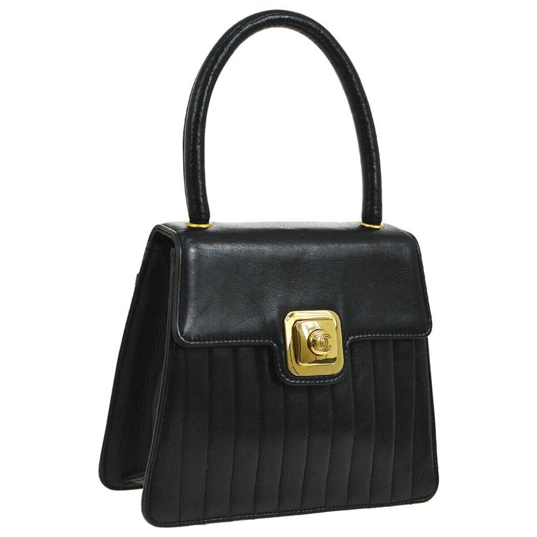 ae7ea78ac46c Chanel Black Leather Gold Small Mini Top Handle Satchel Kelly Style Evening  Bag For Sale