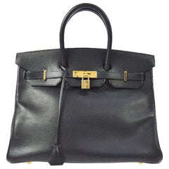 Hermes Birkin 35 Black Leather Gold Top Handle Satchel Travel Bag