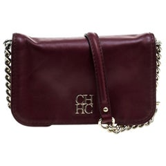 Carolina Herrera Burgundy Leather New Baltazar Crossbody Bag